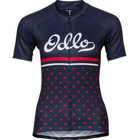 Odlo Fujin Print Stand-Up Collar SS Full Zip Shirt Women diving navy-fiery red-retro